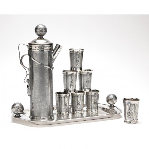 a-novelty-silverplate-golfing-cocktail-shaker-cups-tray