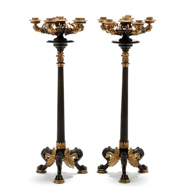 a-pair-of-french-empire-six-light-dore-bronze-candelabra