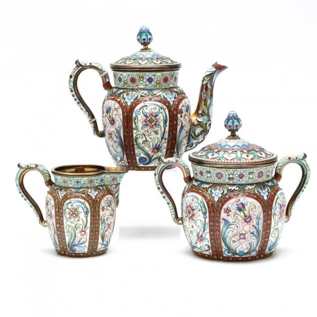 a-russian-silver-gilt-shaded-cloisonne-enameled-tea-set-ovchinnikov