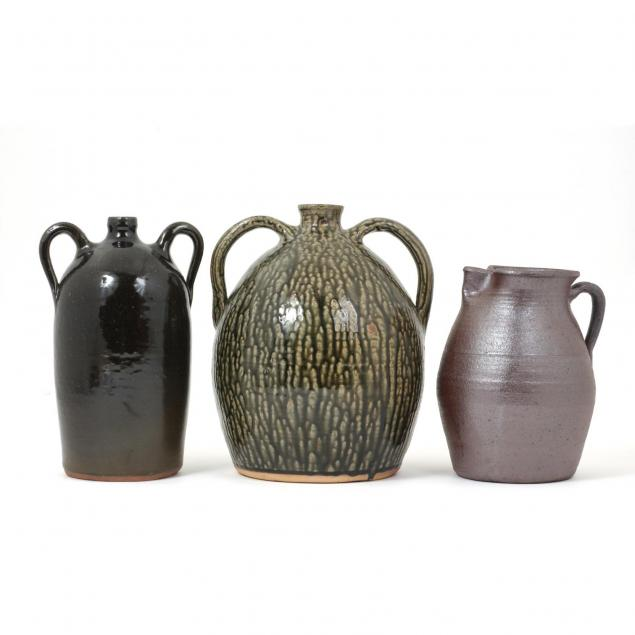 three-georgia-meaders-pottery-jugs