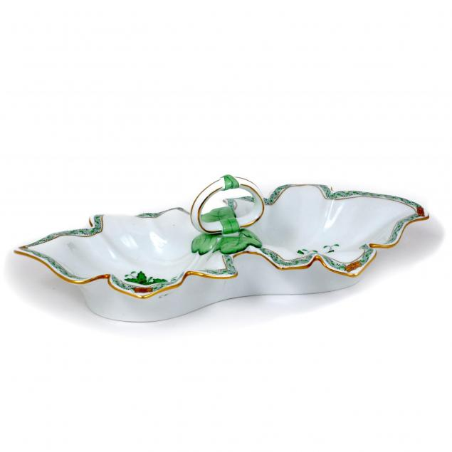 herend-chinese-bouquet-green-double-leaf-dish