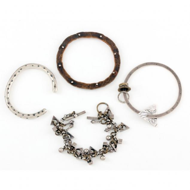 four-modernist-sterling-and-mixed-metal-bracelets