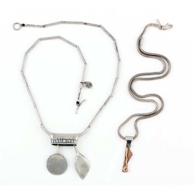 two-modernist-designer-sterling-silver-necklaces
