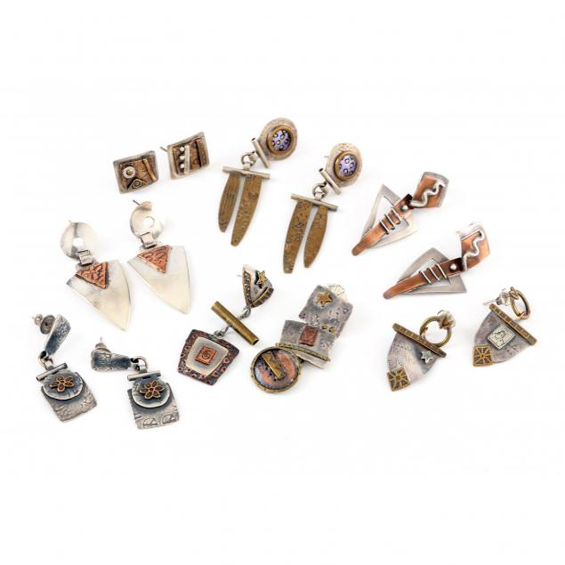 seven-pairs-of-sterling-and-mixed-metal-earrings-nell-chandler-nc