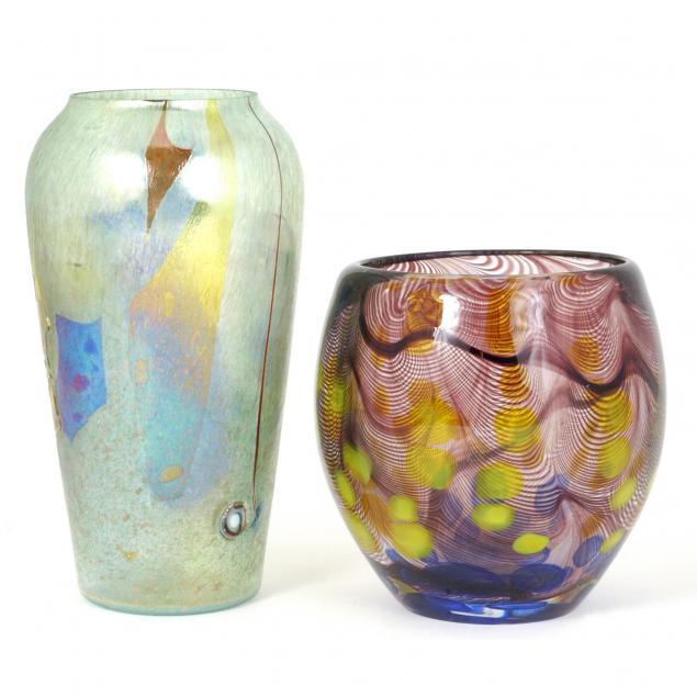 two-modernist-art-glass-vases