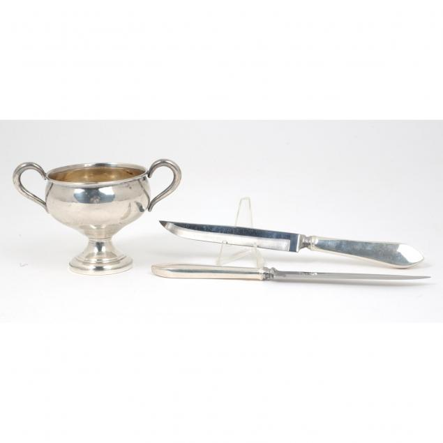 two-tiffany-co-sterling-steak-knives-and-a-sugar-bowl-by-frank-m-whiting