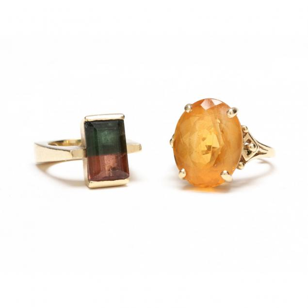 two-14kt-gold-and-gem-set-rings