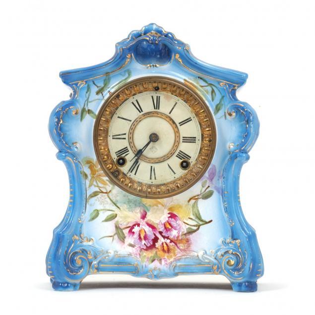 ansonia-la-fontaine-porcelain-mantel-clock