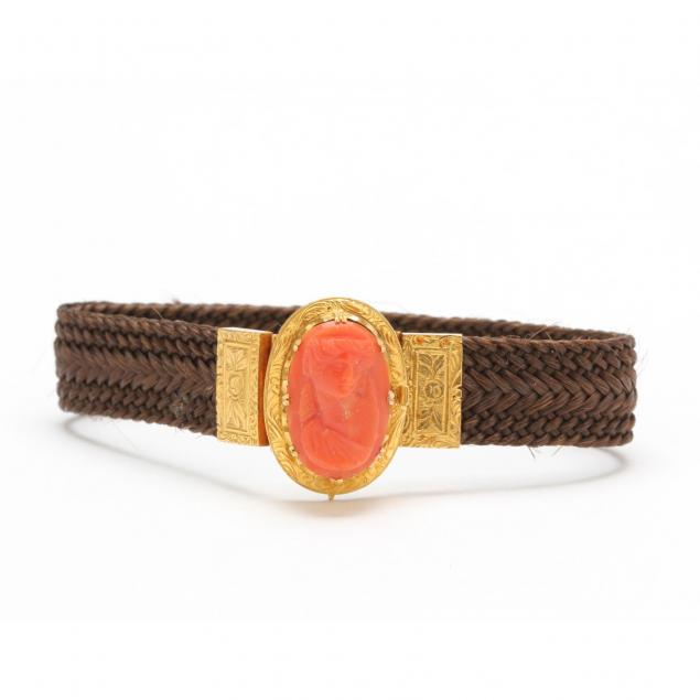 antique-18kt-gold-coral-and-hair-bracelet-french