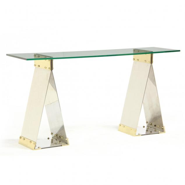 industrial-sawhorse-style-console-table