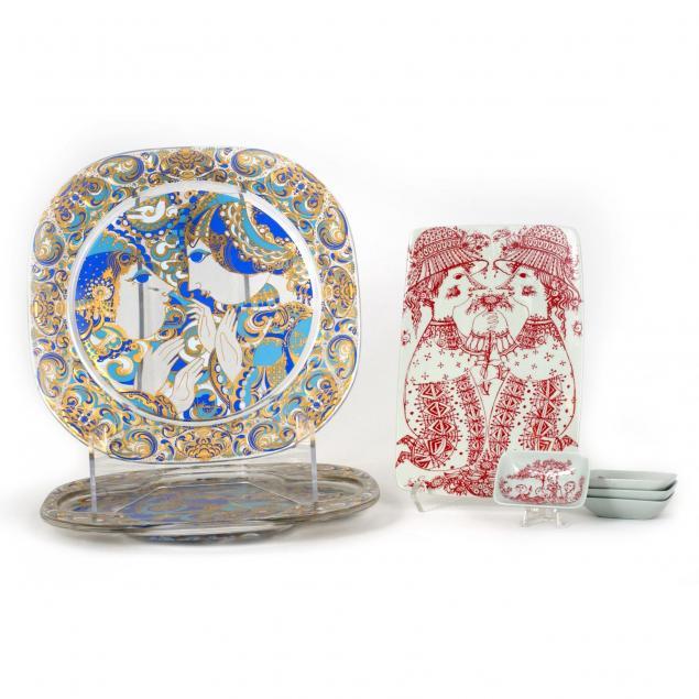 bjorn-wiinblad-danish-1918-2006-seven-decorated-serving-dishes