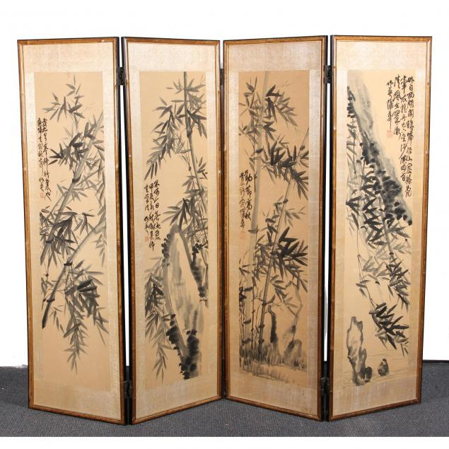 chinese-four-panel-watercolor-screen