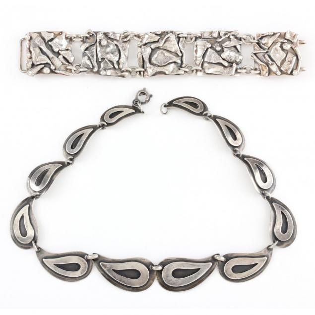 vintage-sterling-bracelet-by-herman-heilig-hendersonville-nc-d-1963-and-a-vintage-necklace-by-cabin-craft-wi