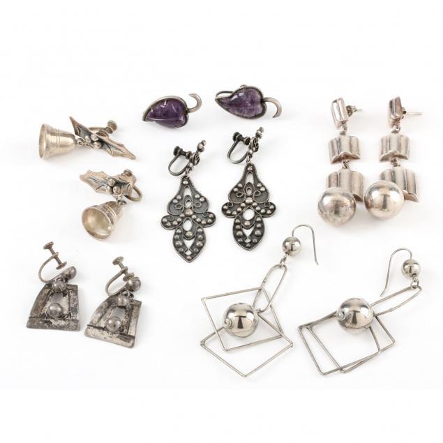 six-pairs-of-vintage-silver-earrings