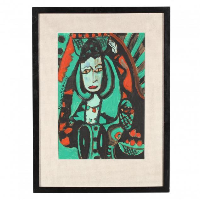 hasan-kaptan-turkish-b-1942-woman-in-green