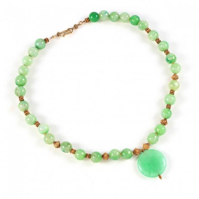 green-bead-quartz-necklace