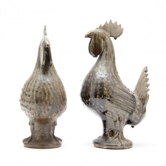 georgia-folk-pottery-a-pair-of-clint-alderman-roosters