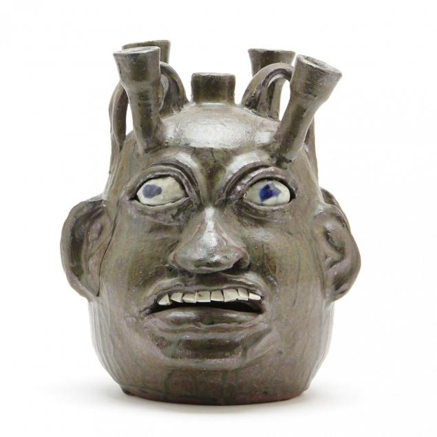 georgia-folk-pottery-chester-hewell-candelabra-face-jug