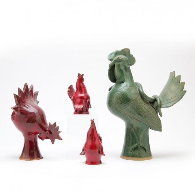 group-of-ram-pottery-nc-roosters