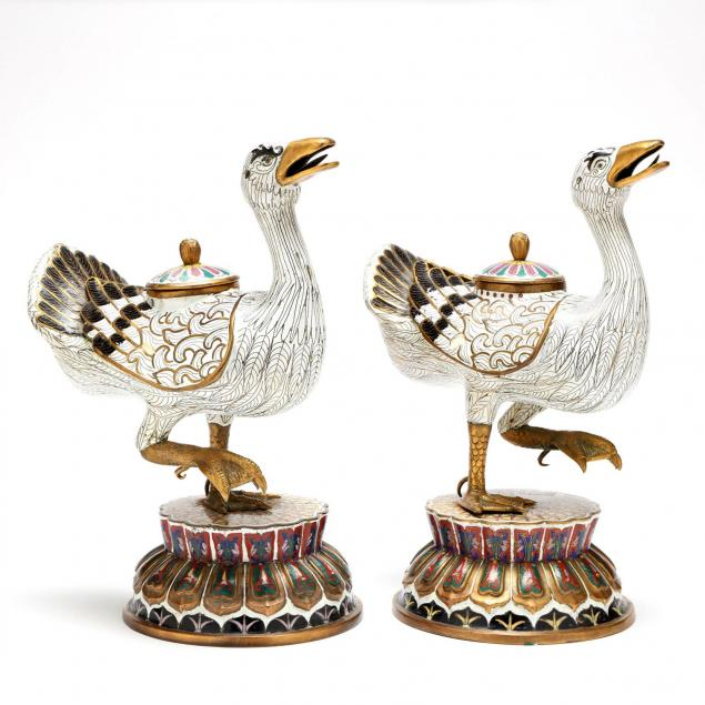 a-pair-of-chinese-cloisonne-duck-figural-censers
