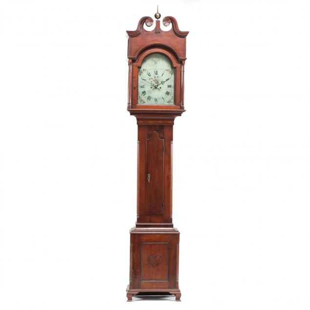 pennsylvania-chippendale-inlaid-carved-walnut-tall-case-clock