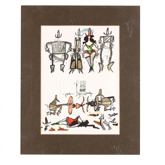 saul-steinberg-am-1914-1999-lithograph-in-colors