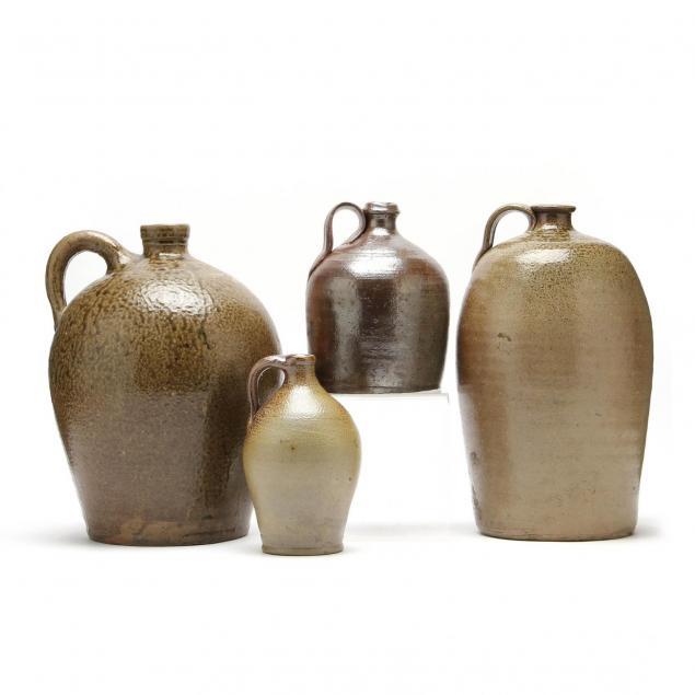 four-early-nc-pottery-jugs