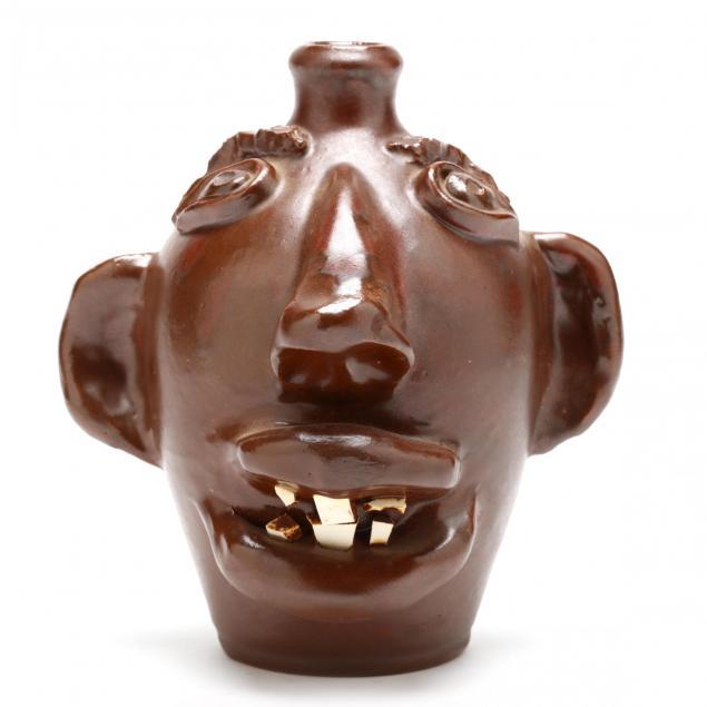 rare-nc-folk-pottery-dorothy-auman-face-jug