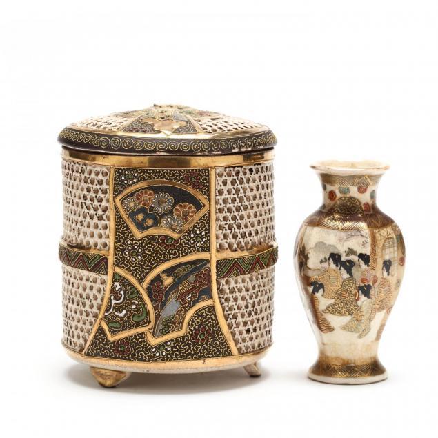 japanese-satsuma-incense-burner-signed-seizan-and-vase