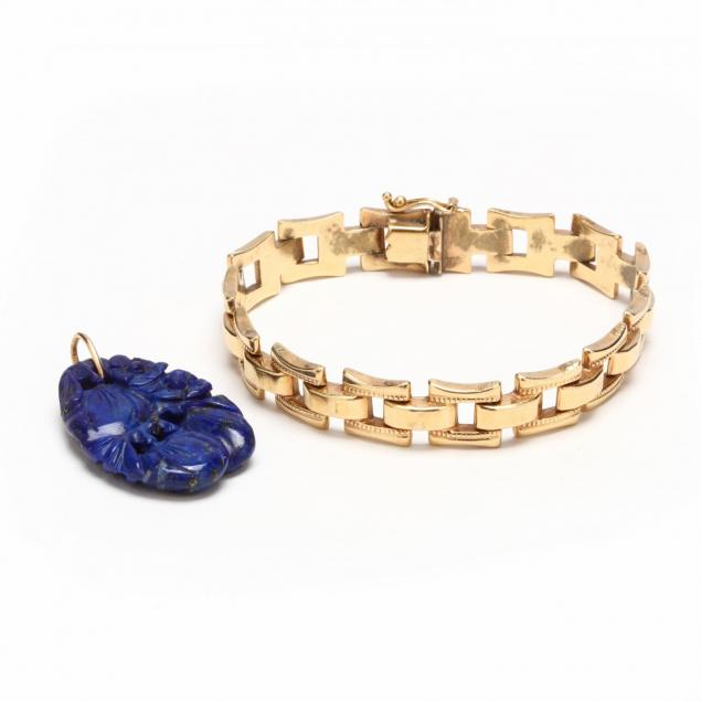 14kt-gold-bracelet-and-a-lapis-lazuli-pendant