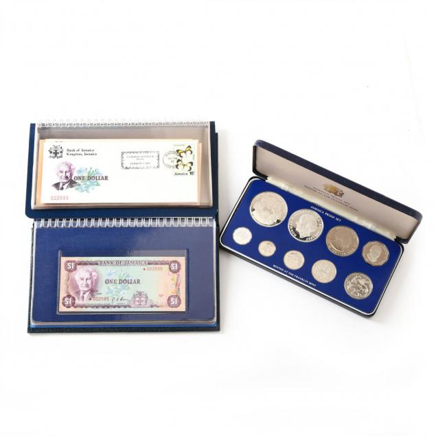 jamaica-presentation-sets-of-silver-coins-and-paper-currency