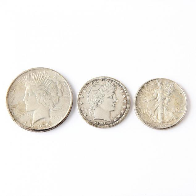 a-high-grade-1925-peace-dollar-and-two-silver-halves