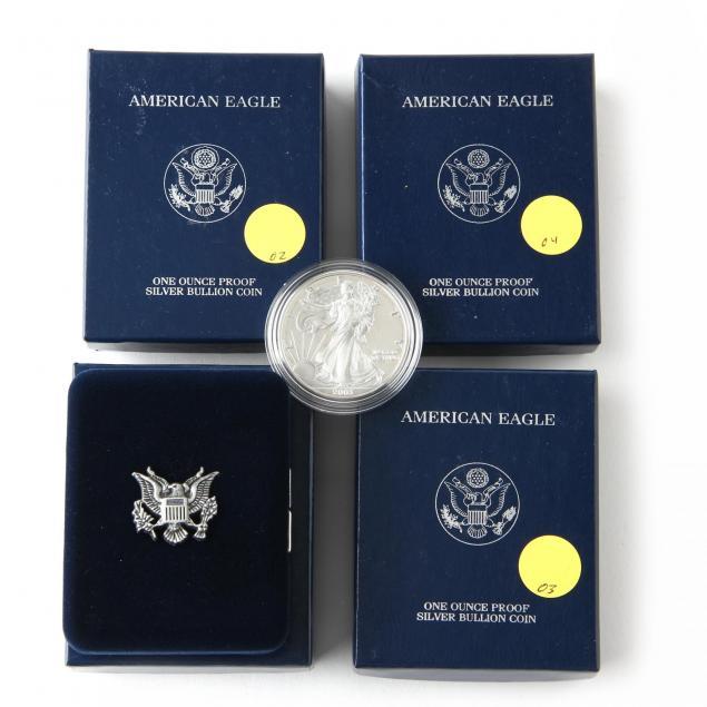 four-proof-american-eagle-silver-bullion-coins