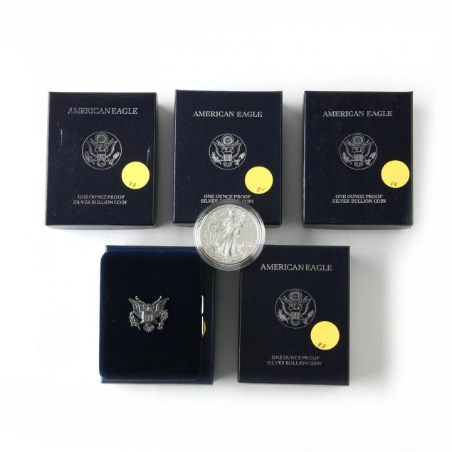 five-different-proof-american-eagle-silver-bullion-coins