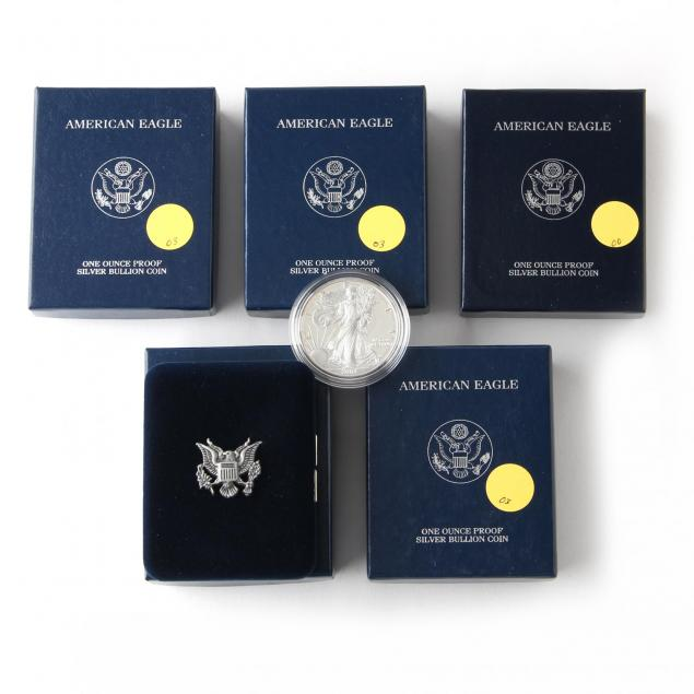five-proof-american-eagle-silver-bullion-coins