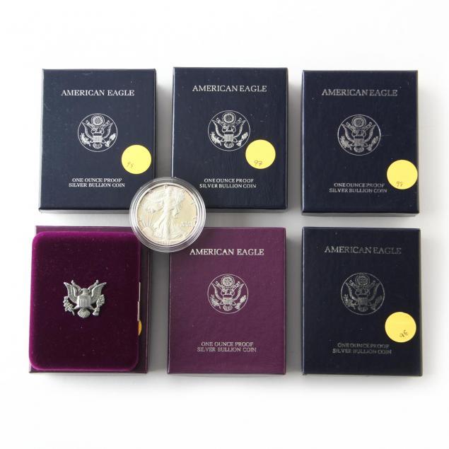 six-20th-century-proof-american-eagle-silver-bullion-coins