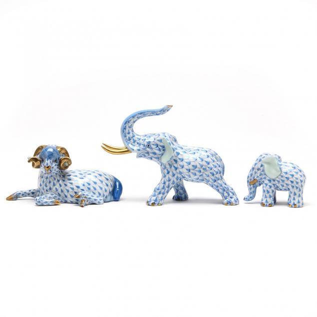 three-blue-fishnet-herend-porcelain-animals