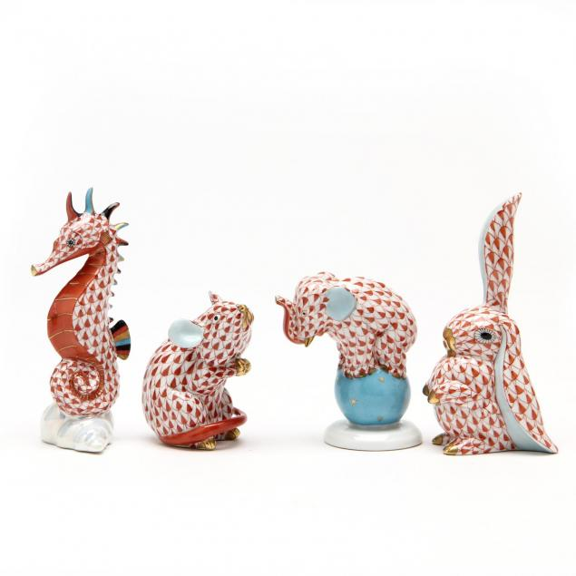 four-rust-fishnet-herend-porcelain-animals