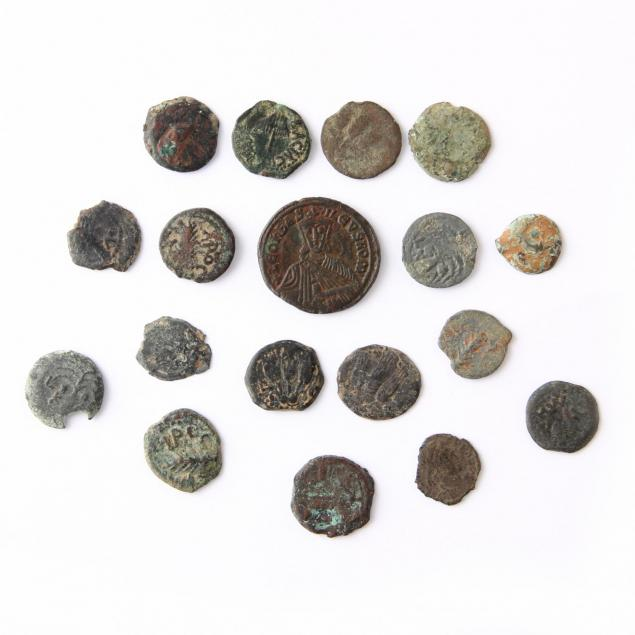 group-of-eighteen-ancient-bronze-coins-mostly-judaean