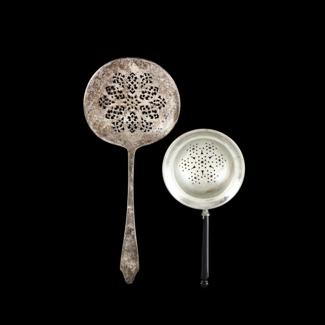 a-tiffany-co-clinton-sterling-silver-tomato-server-and-an-art-deco-silver-tea-strainer