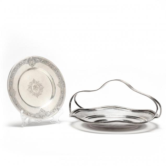 sterling-silver-handled-cake-plate-and-bread-dish