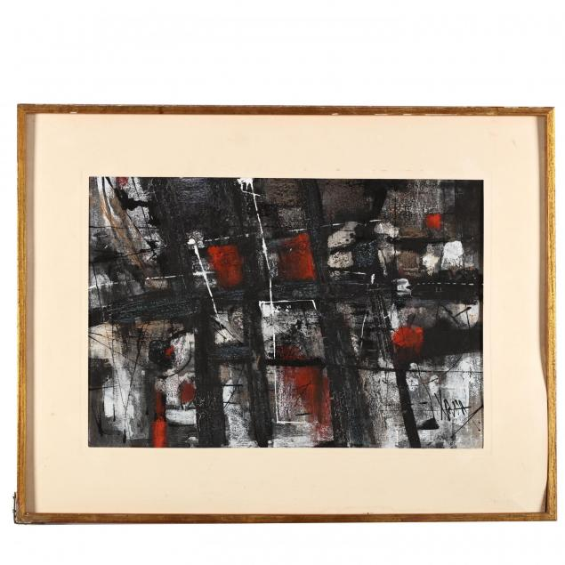 mid-century-red-black-abstract-painting