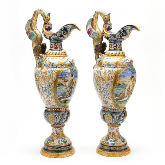pair-of-large-antique-italian-faience-ewers