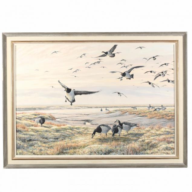 martin-ridley-british-b-1967-i-incoming-barnacle-geese-i