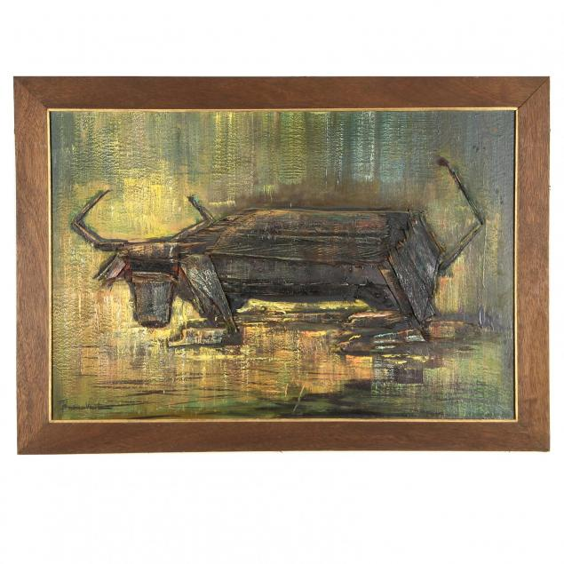 mid-century-construction-painting-of-a-water-buffalo