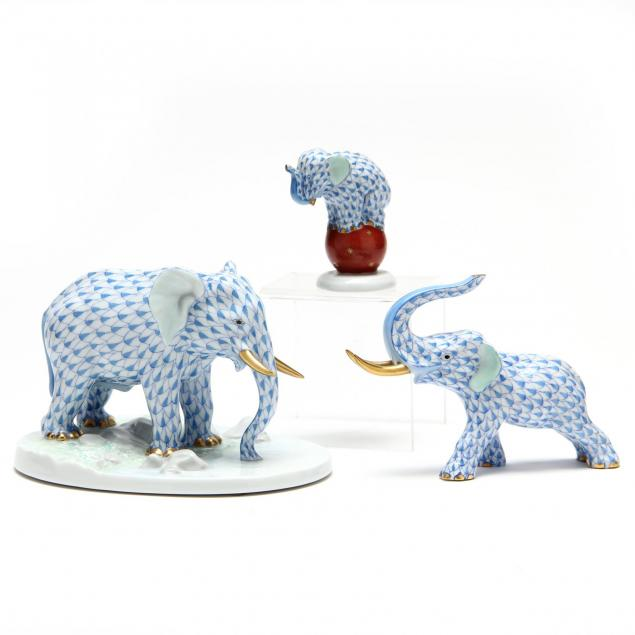 three-herend-blue-fishnet-elephants