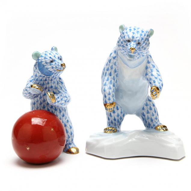two-herend-bear-figurines