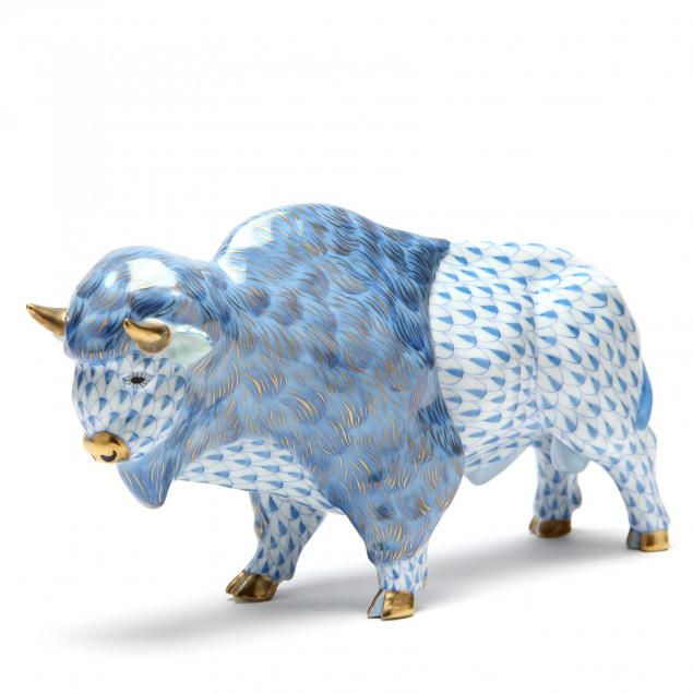 a-herend-figurine-of-a-bison