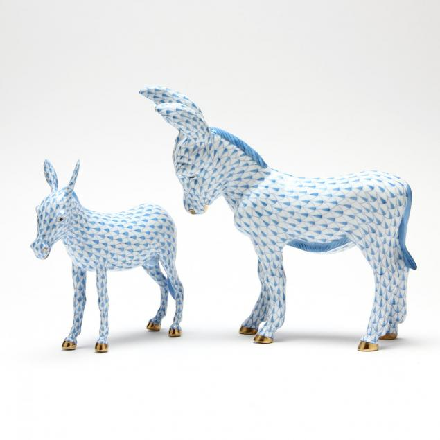 two-herend-donkey-figurines