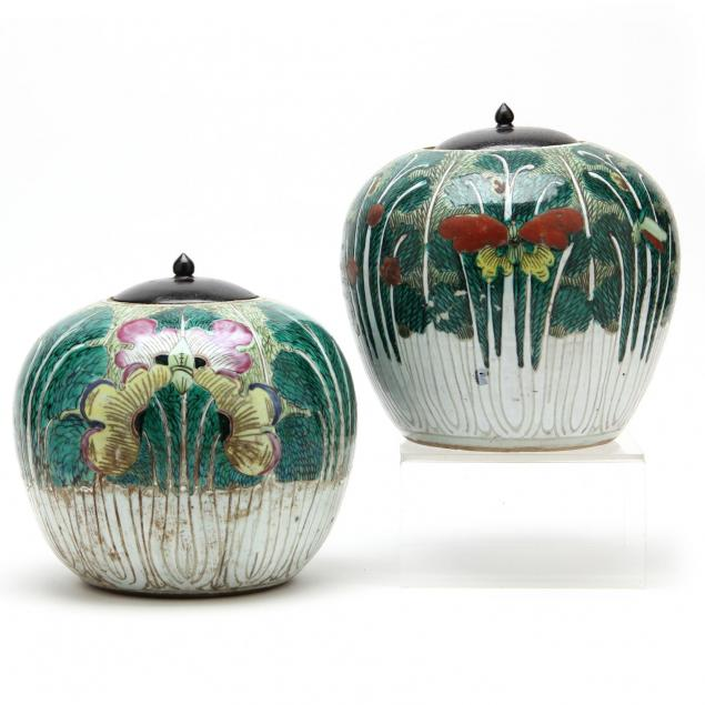 pair-of-chinese-export-porcelain-cabbage-leaf-ginger-jars